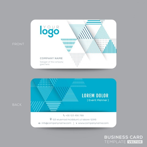 Business card with blue triangles Vector Free Download - card design template