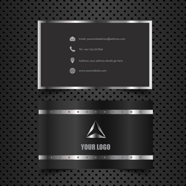 Business card with metallic style Vector Free Download