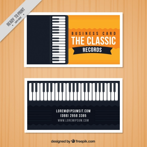 Business card with a piano for a music studio Vector Free Download