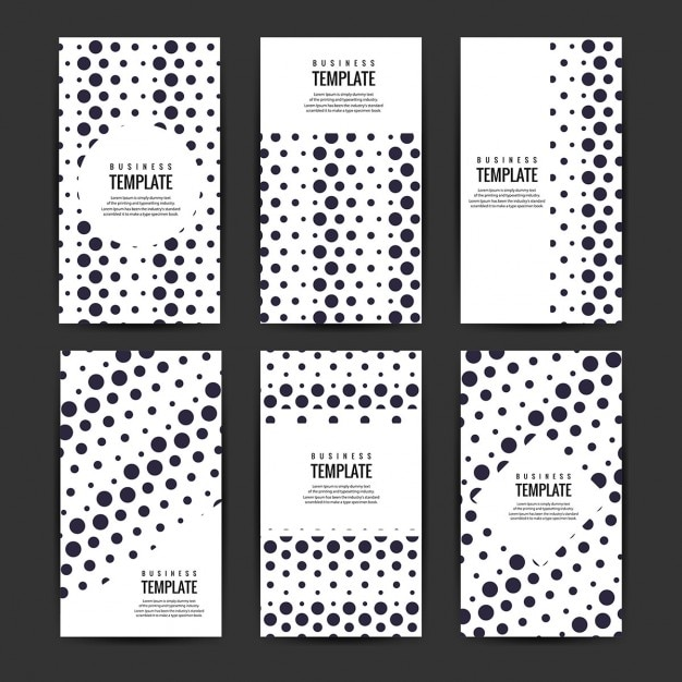 Business flyers template set with black circles Vector Free Download - black and white flyer template
