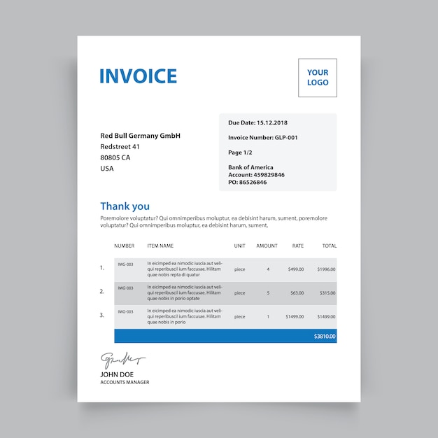 Business invoice template Vector Free Download