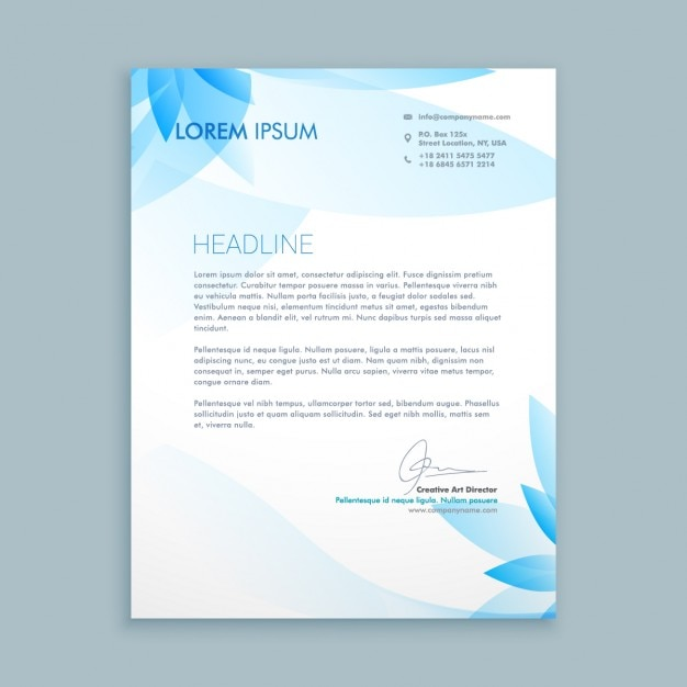 Business letter with blue flowers Vector Free Download