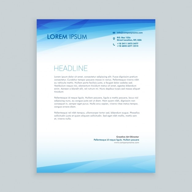 Business letterhead in blue color Vector Free Download
