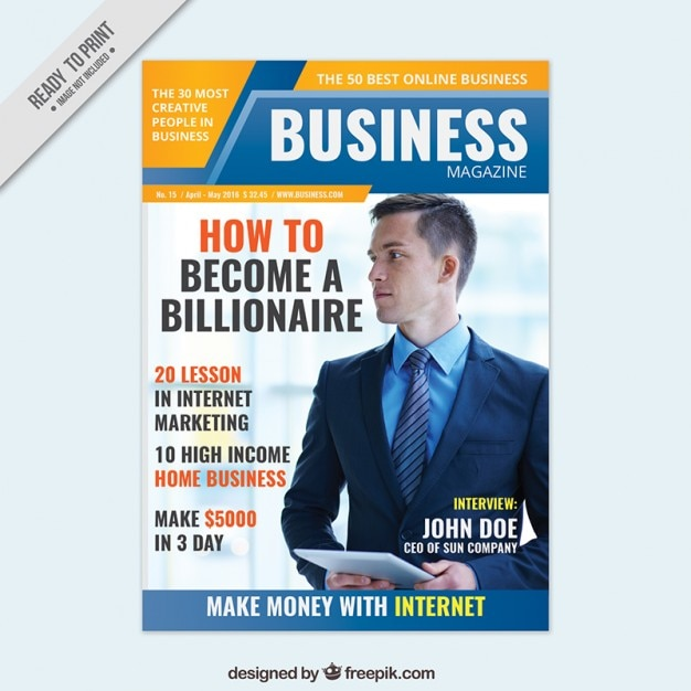 Business magazine cover design Vector Free Download
