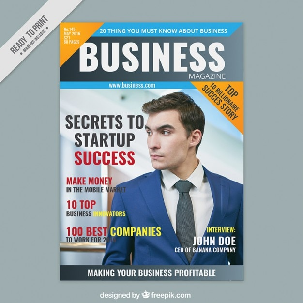 Business magazine cover with an entrepreneur Vector Free Download