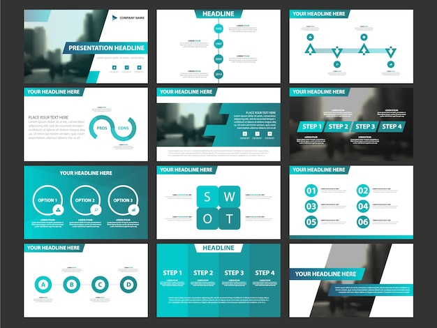 Business presentation infographic elements template set, annual