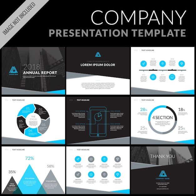 Business presentation template set Vector Free Download - Presentations Template