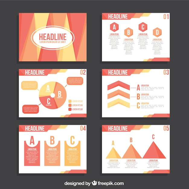 Business presentation template with infographic elements in pastel - presentation template