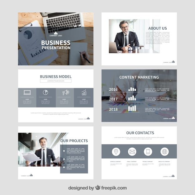 Business presentation template with photo Vector Free Download