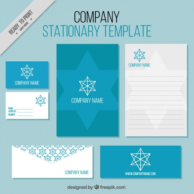 Business stationery templates with geometric star Vector Free Download
