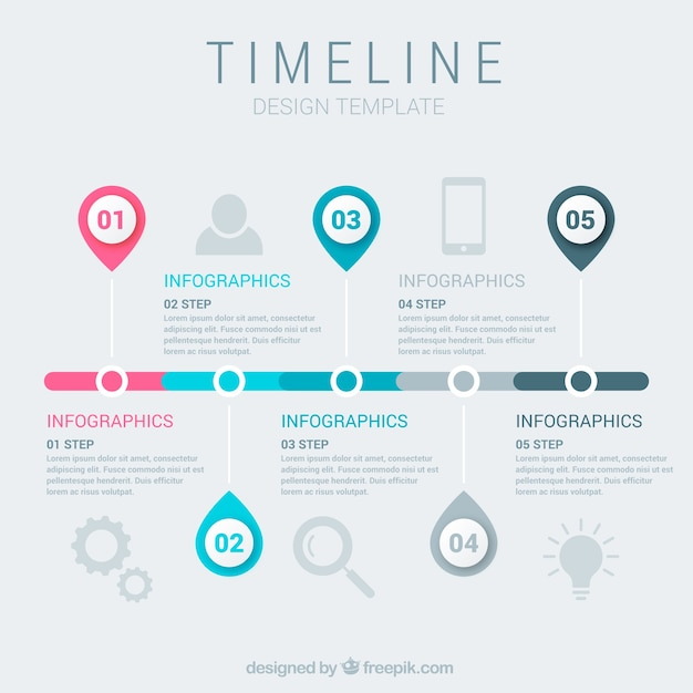 Business timeline template with infographic style Vector Free Download