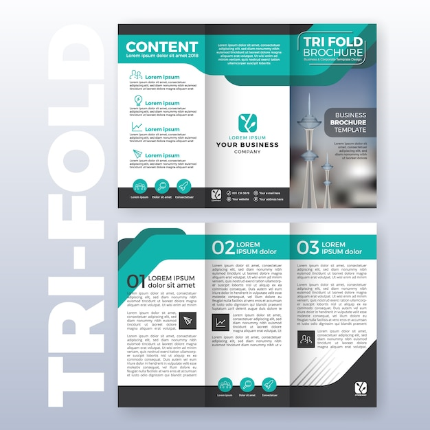 Business tri-fold brochure template design with turquoise color