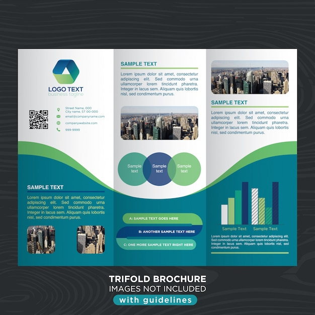 Business trifold brochure template with curves design Vector Free - sample broucher