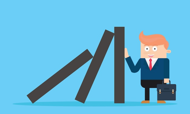 Businessman character protect domino effect cartoon vector design