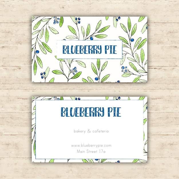 Cafe business card template with hand drawn leaves Vector Free