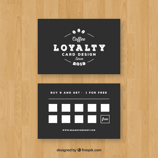 Cafe loyalty card template with elegant style Vector Free Download