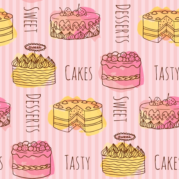 Bakery Wallpaper Hd Cake Pattern Background Vector Free Download