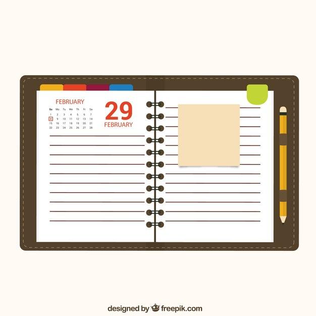 Calendar Notebook Paper Vector Free Download - notepad paper template