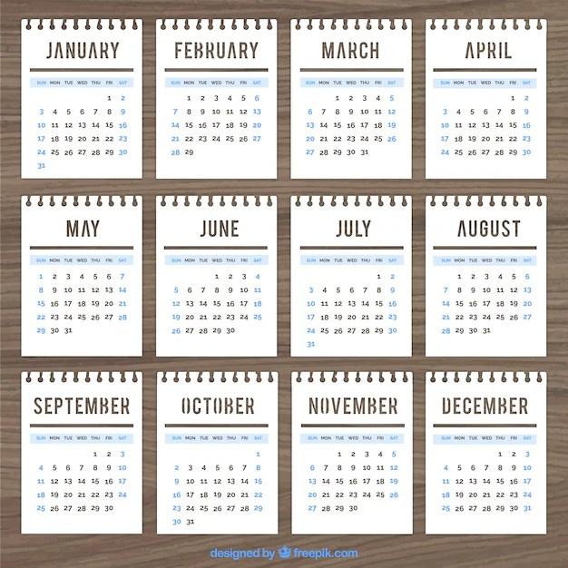 Calendar template in notebook style Vector Free Download - free calendar template