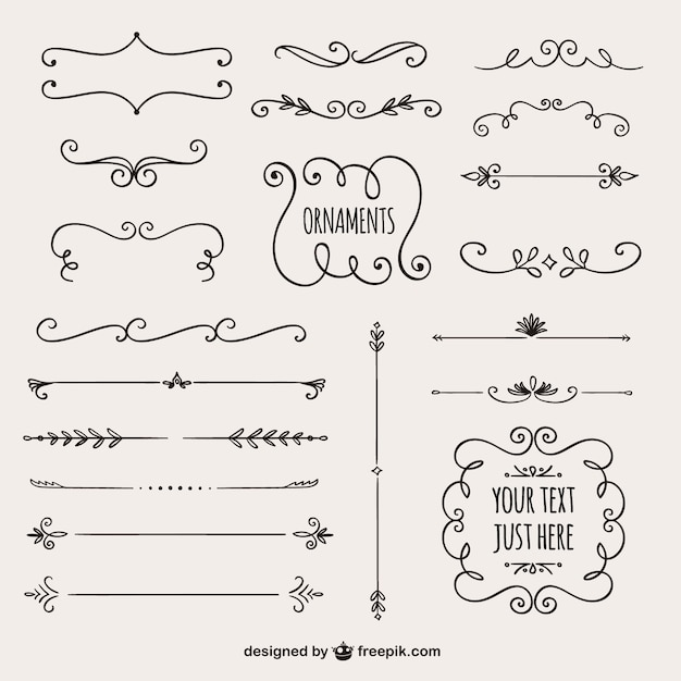 Calligraphic borders collection Vector Free Download