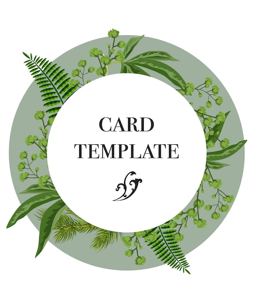 Card template design with greenery wreath on white background party