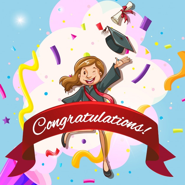 Card template for congratulations with woman in graduation gown - congratulation graduation