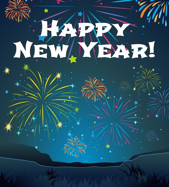 Card template for New Year with firework background Vector Free