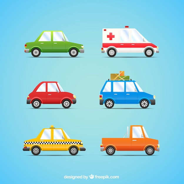 Cars collection in cartoon style Vector Free Download
