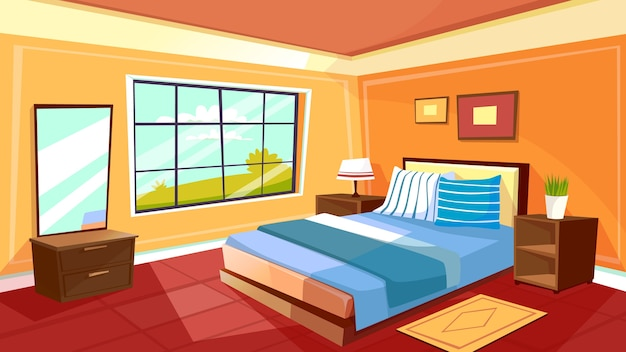 Free Animated Fireplace Wallpaper Cartoon Bedroom Interior Background Template Cozy Modern