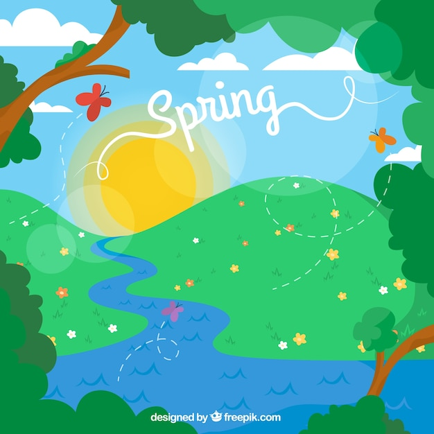 Cartoon spring landscape Vector Premium Download