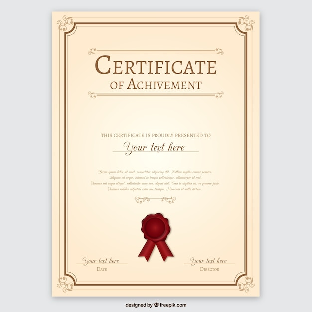 Certificate of achievement Vector Free Download