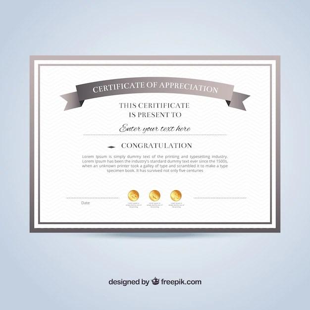 Certificate of appreciation template Vector Free Download