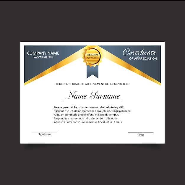 Certificate of appreciation with gold medal template Vector Free