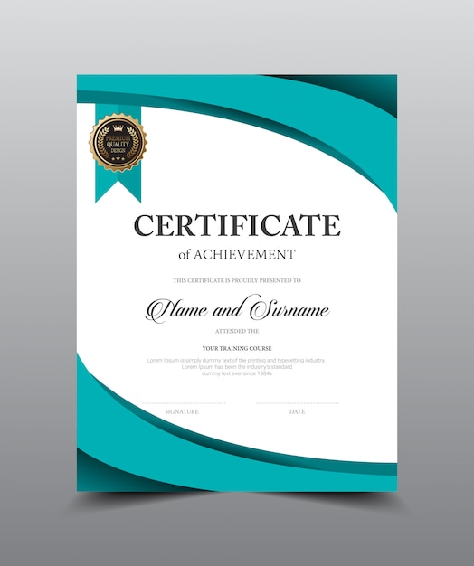 Certificate layout template design, luxury and modern style, vector