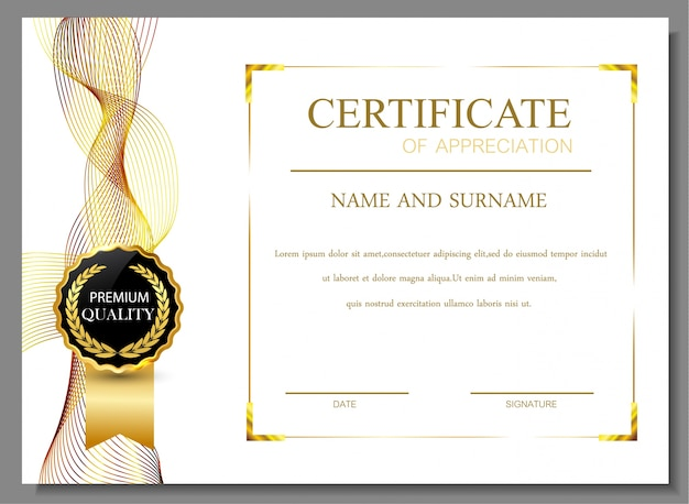 Certificate of appreciation design Vector Free Download