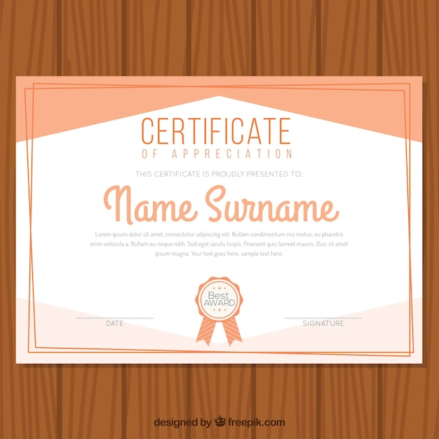 Certificate of appreciation in flat design Vector Free Download