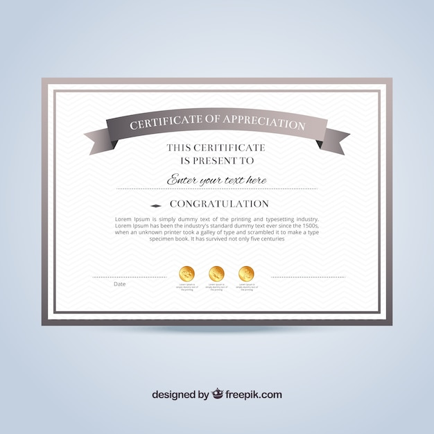 Certificate of appreciation template Vector Free Download - Sample Certificate Of Appreciation