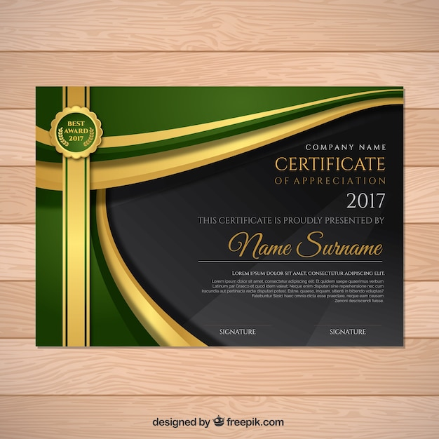 Certificate of appreciation with green details Vector Free Download