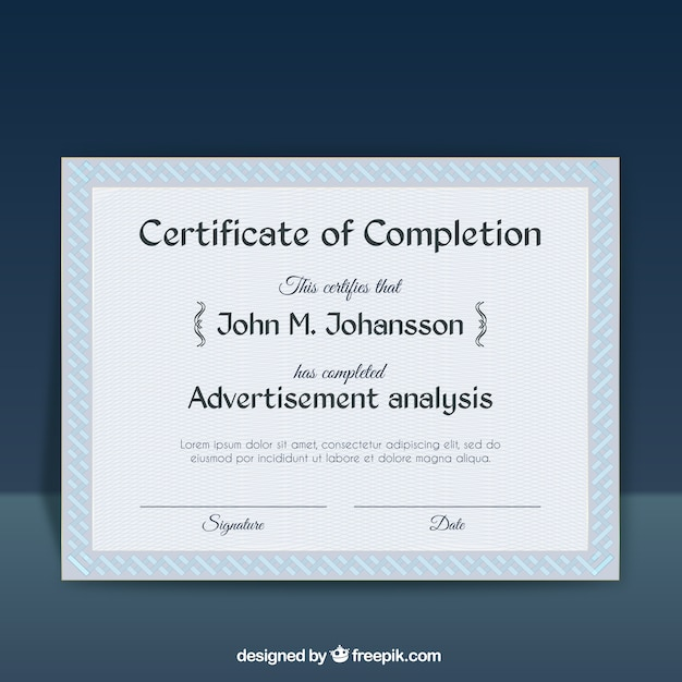 Certificate of completion template Vector Free Download - certificate of completion template free