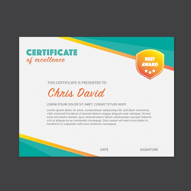 Certificate of excellence template Vector Free Download