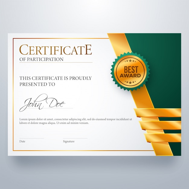 Certificate of participation award diploma Vector Premium Download - design of certificate of participation