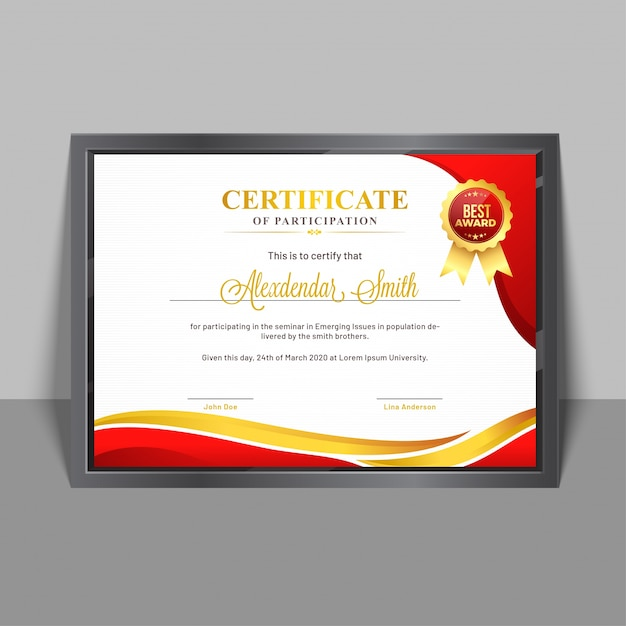 Certificate of participation template with yellow and red abstract - design of certificate of participation