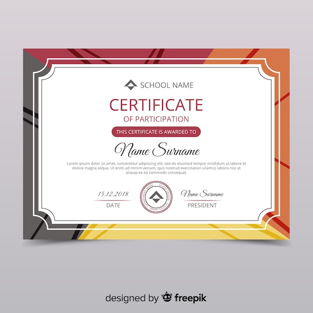 Certificate of participation template Vector Free Download