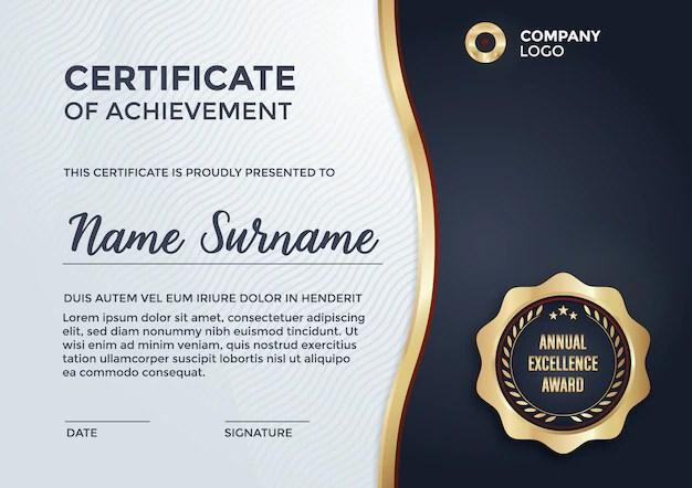 Certificate template design Vector Free Download