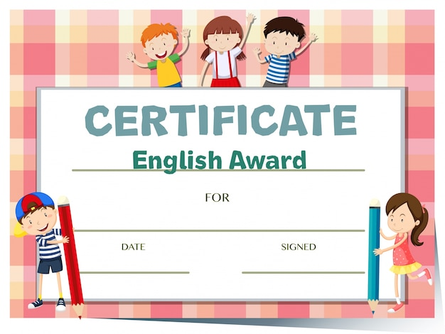 Certificate template for english award with many kids Vector Free - free certificate template for kids
