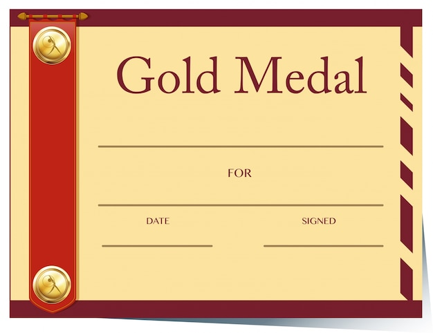 Certificate template for gold medal on paper Vector Free Download - gold medal templates