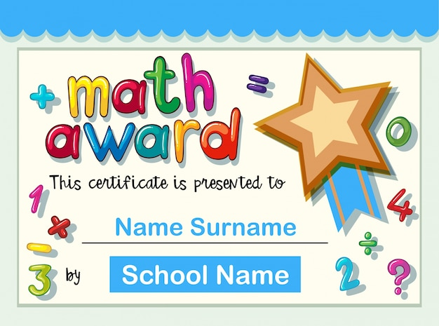 Certificate template for math award with golden star Vector Free - prize certificate template free