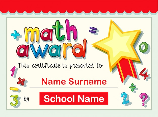 List of Synonyms and Antonyms of the Word math award - printable math awards