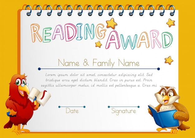 Certificate template for reading award Vector Free Download