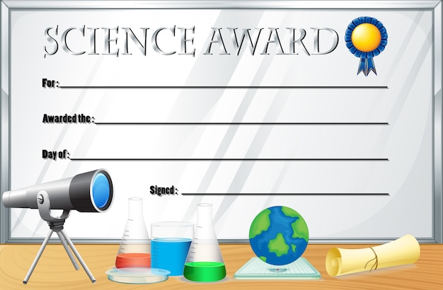 Certificate template for science award Vector Free Download